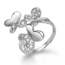 rings butterfly images Sterling silver pave cz enchanted three butterfly ring jpg