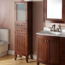 Free Standing Wooden Bathroom Furniture Narrow Wooden Freestanding Linen Closet With Glass Door And Two