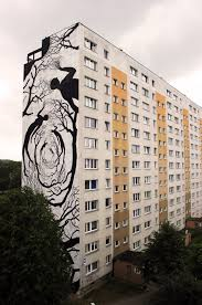 hordes of silhouettes form trees and other figures in new murals mural 5