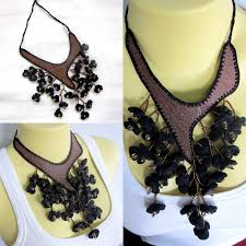 crochet necklace black images Black floral crochet necklace w leather beads handcraft jewelry jpg