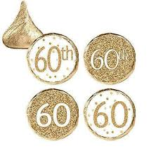 60th birthday party favors white and gold 60th birthday party favor stickers 324 count