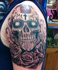 sugar skull designs with cross designs