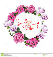 Wedding Wishes Designs Save Date Wedding Greeting Vector Floral Template Stock Vector