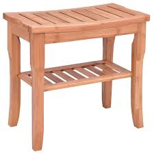 Bathroom Stools With Storage Giantex Bamboo Shower Chair Seat Bench Modern Wood Bathroom Spa