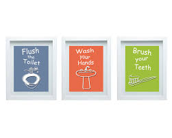 Bathroom Art Decor by 3d Bathroom Rules Art Kids Bathroom Decor Set Of 3 8x10 Kids
