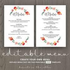 wedding menu templates floral wedding menu template printable menu template diy