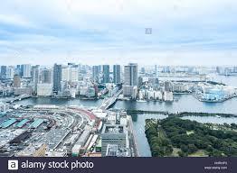 Modern City Panoramic Modern City Skyline Bird Eye Aerial View Of Odaiba Bay