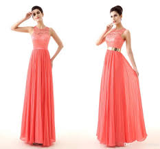 coral plus size bridesmaid dresses lace coral prom dresses gold belt keyhole back real image cheap
