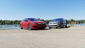 2 door compact cars shootout honda civic lx coupe vs volkswagen golf tsi s 2 door