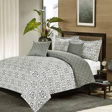 Medallion Bedding Crest Home Kendrick Queen Comforter 5 Pc Bedding Set Grey