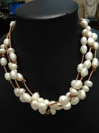 pearls necklace real images Baroque freshwater pearls necklace with leather multilayer brown jpg