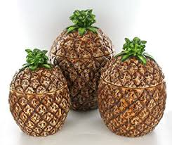 brown canister sets kitchen amazon com pineapple fruit shaped kitchen canister set tropical