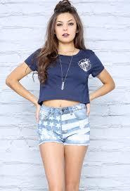 Model American Flag High Waisted American Flag Denim Shorts Shop Summer At