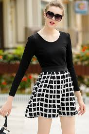 black plaid detail long sleeve skater dress long sleeve dresses