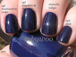 opi madewell to order vs sapphire in the snow sits is very close