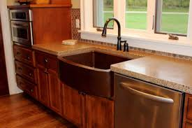Copper Tiles For Kitchen Backsplash Brown Concrete Countertop Copper Tile In Sink Wall Oven Wooden