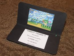 you could also make a paper invitation that looks just like a nintendo 3ds only this one never needs to be charged learn how to make it here