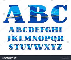 english alphabet aqua vector font capital stock vector 538862503