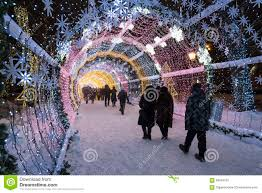 moscow russia january 17 2015 a glowing christmas tunnel long