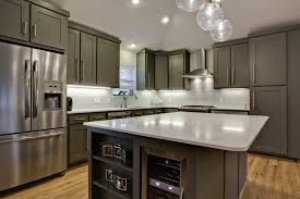 gray cabinet kitchen diy floating shelves crown molding kitchen contemporary with island