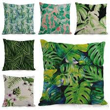 Lawn Chair Cushion Covers Tropical Cushion Cover Green Leaf Throw Pillow Case Sofa Chair