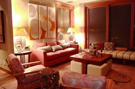 living room design ideas in brown and beige red accent wall