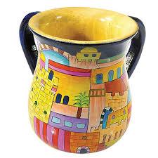buy yair emanuel painted wood netilat yadayim cup washing cup