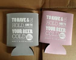 fancy wedding koozies with monogram and eat drink by rookdesignco