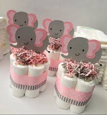 baby shower centerpieces for a girl four pink grey elephant mini cakes baby shower centerpiece