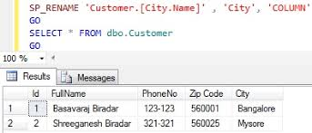 Sql Server Alter Table Change Column Name How To Rename Column Name In Sql Server Sqlhints