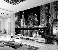 la chambre ville 3d papier peint pour la chambre noir et blanc ville nuit peintures