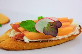 cuisine et creation bruschetta prosciutto melon mint radish micro salad a creation
