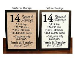 best wedding anniversary gifts 14th anniversary etsy