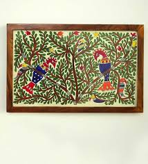 wood painting buy multicolour teak wood bloom of mithila painted