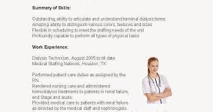 Dialysis Technician Resume Sample by Resume Samples Dialysis Technician Resume Sample