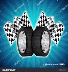 Checkered Flag Eps Race Background Wheels Checkered Flags Eps10 Stock Vector