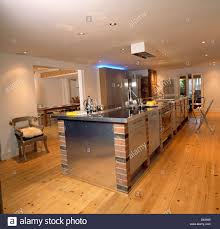 built in appliances in brick and steel central unit in modern