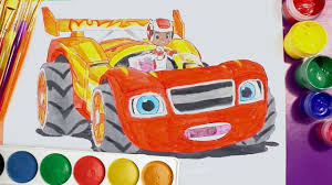 blaze and the monster machines race car draw and colour