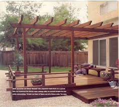 Pergola Deck Designs by Awesome Pergola Deck With Wraparound Step And Strand Lighting It