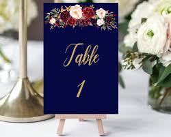 gold wedding table numbers printable wedding table numbers navy gold wedding marsala burgundy