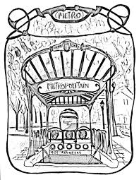 Paris Subway Entrance Gate To Paris Subway Paris Coloring Pages For Adults
