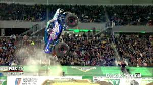 monster trucks crash videos monster jam driver has fun on and off the course orlando sentinel