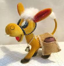 vintage felt burro donkey with bell u0026 buck teeth toothpick holder