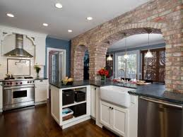 kitchen accent wall blue appliance with napkin rod feat brick
