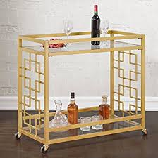 amazon com retro gold tone bar cart metal serving tray table