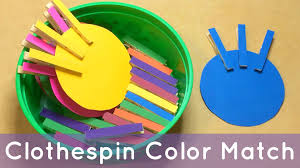clothespin color match preschool learning activity for color