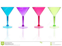martini white 4 different color martini glasses on white stock photo image