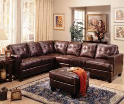 Comfortable Leather Couch Furniture Contemporary Brown L Shape Tufted Laminated Leather