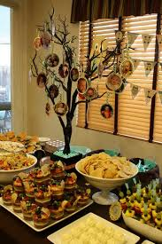 food table with picture tree centerpiece ideas