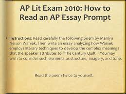 AP Lit Essay Portion of the Exam     Part I  Multiple Choice   hour